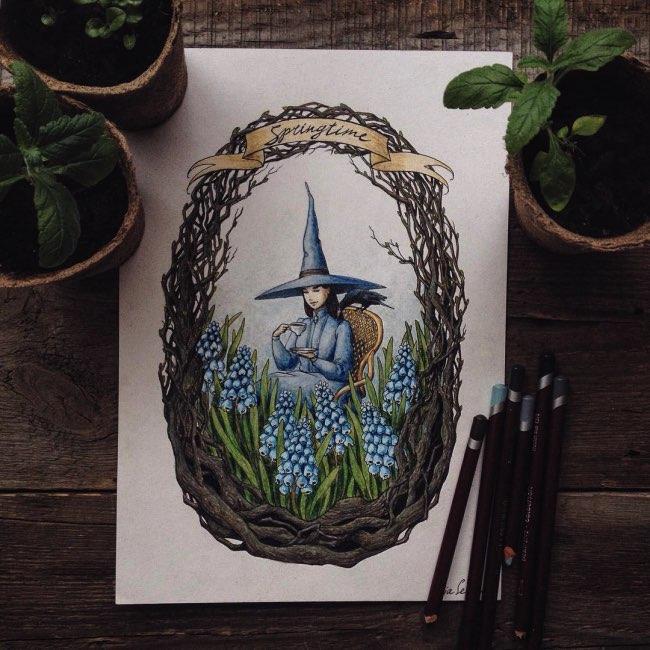 Illustration Conte De Fée elle ponctue son quotidien d'illustrations de contes de fées