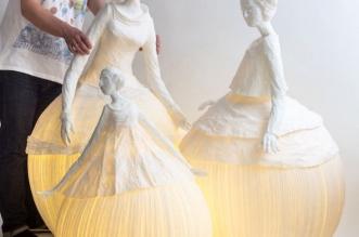 mademoiselles lampes papier a etres 1 331x219 - Virevoltantes Sculptures Lumineuses en Papier Mâché
