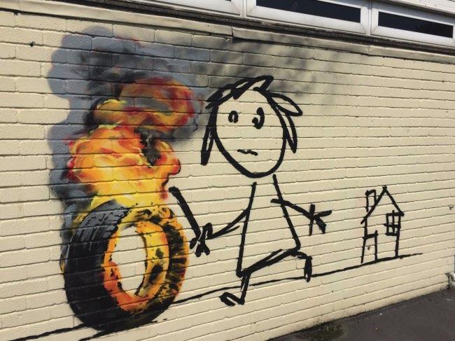 , Banksy Remercie Avec une Oeuvre les Enfants d'une Ecole Primaire de Bristol
