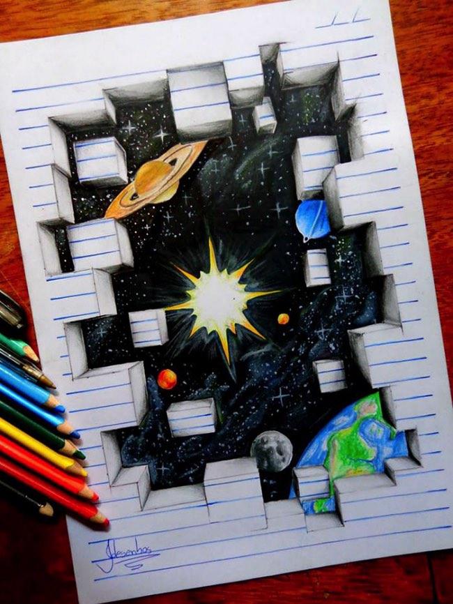 joao carvalho j desenhos dessin 3d crayons couleurs 2 - Les Illustrations 3D de cet Adolescent ont fait le Tour du Monde