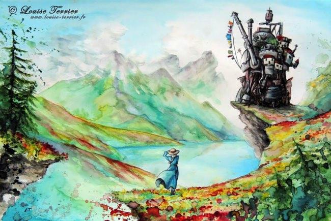, 14 Aquarelles Inspirées par les Films d'Animation des studios Ghibli