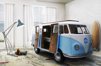 vw camper van lit camionnette volkswagen enfants 1 331x219 - Lit Fourgonnette Combi Van pour Chambre d'Enfants (video)