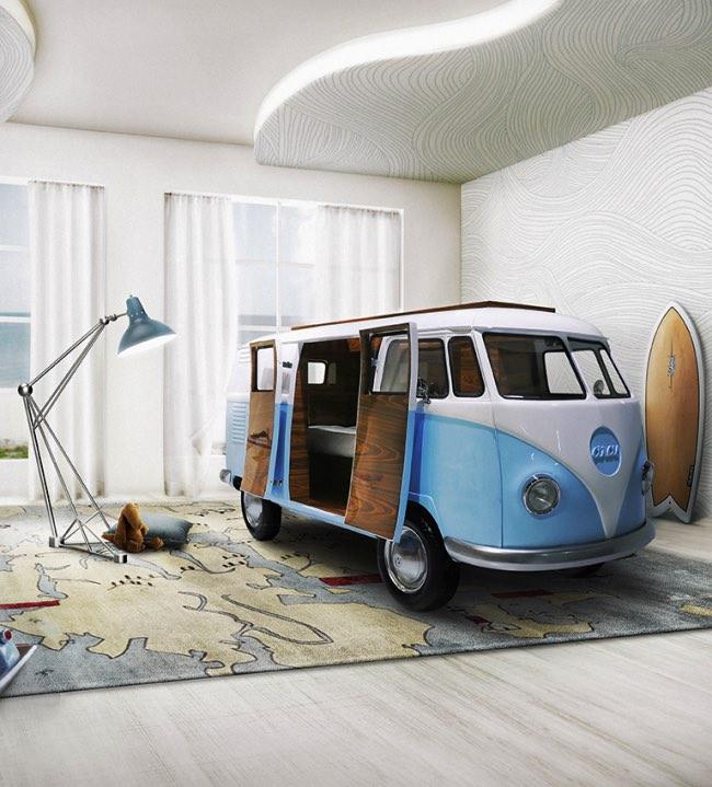 vw camper van lit camionnette volkswagen enfants 1 - Lit Fourgonnette Combi Van pour Chambre d'Enfants (video)