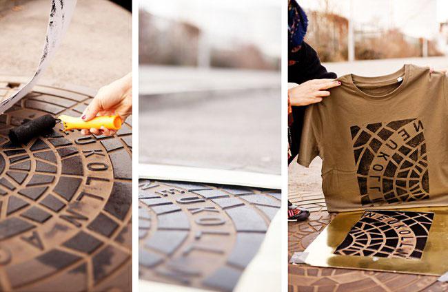 , Ils Sérigraphient leurs T-Shirts et Sacs sur des Plaques d'Egouts (video)