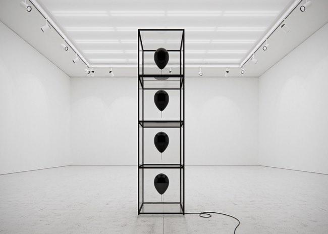 tadao cern black balloons installation ballons art 4 - Artistique Installation de Ballons Gonflés à l'Hexafluorure de Soufre