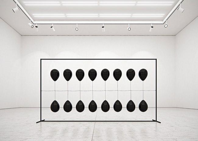 tadao cern black balloons installation ballons art 6 - Artistique Installation de Ballons Gonflés à l'Hexafluorure de Soufre