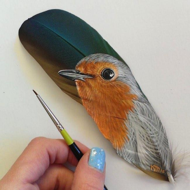 art krystle missildine plumes peinture animaux 6 - Sur des Plumes elle Peint de Saisissants Portraits d'Animaux