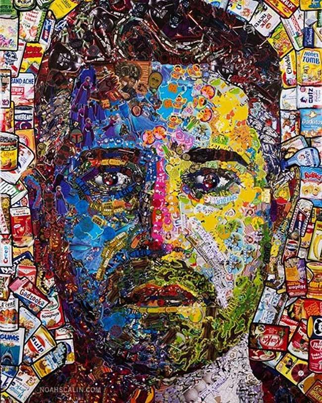 noah scalin autoportrait autocollants stickers art 1 - Des Milliers de Stickers pour un Autoportrait Fascinant (video)