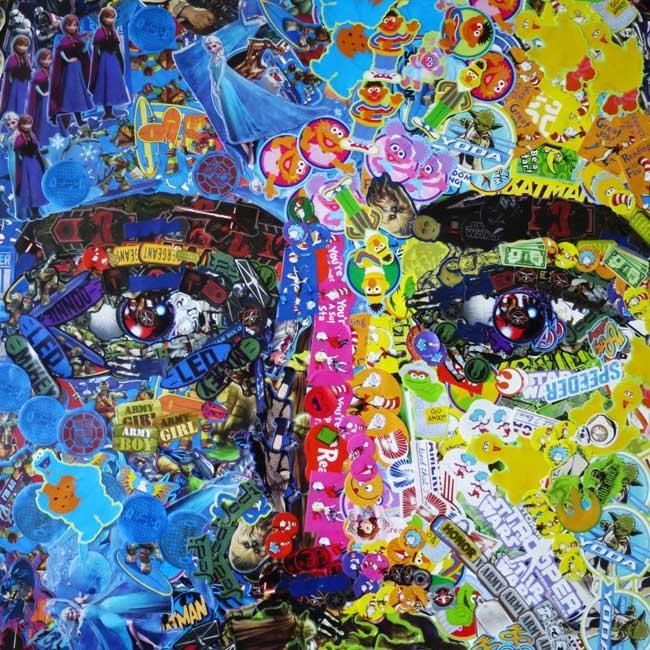 noah scalin autoportrait autocollants stickers art 2 - Des Milliers de Stickers pour un Autoportrait Fascinant (video)