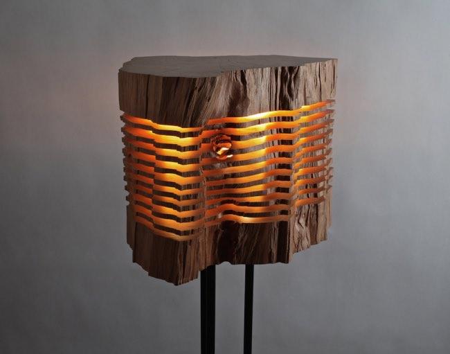 lampe tronc arbre, Ce Tronc d'Arbre Illumine les Intérieurs par son Design Tranché