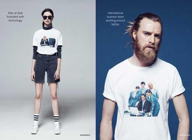 , Adobe Affiche sa Banque d'Images sur T-Shirts et Sweats