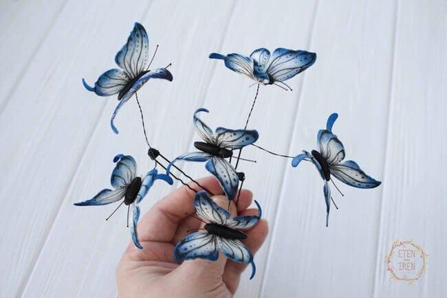 , Féérique Couronne de Papillons Voletant au Dessus de la Tête