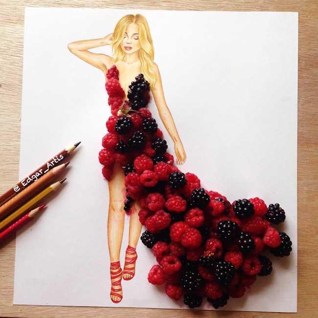 edgar artis, Fleurs et Nourritures pour des Illustrations de Mode en Mouvement