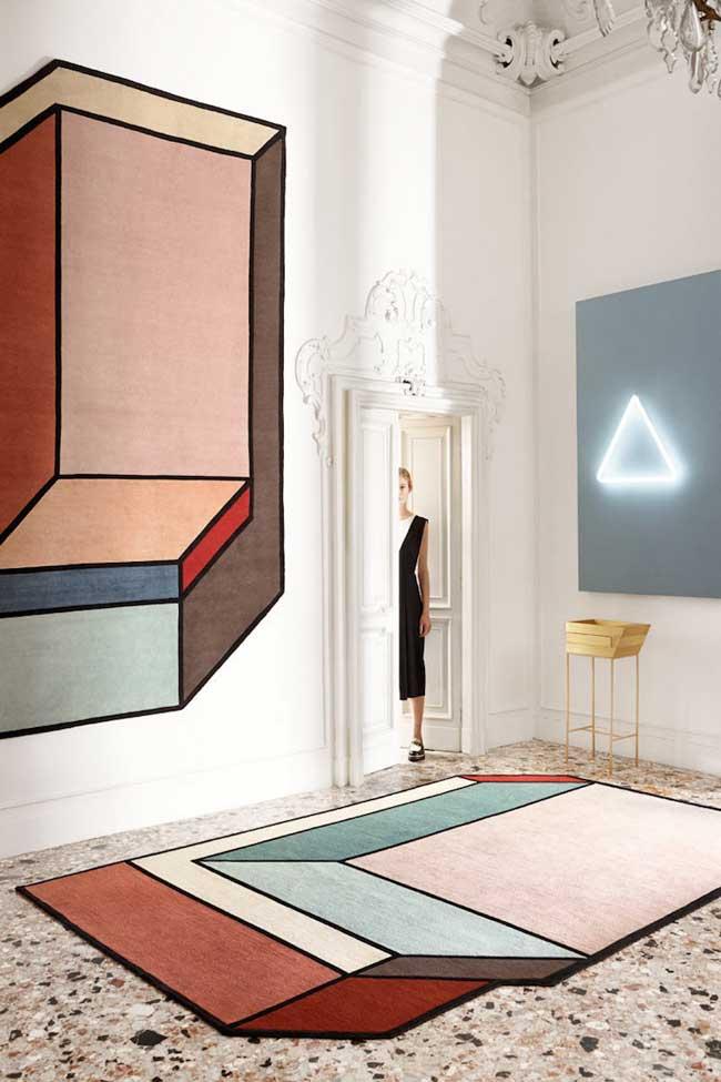 , Tapis d'Art en Fausse 3D à l'Inspiration 'De Stijl' et Mondrian