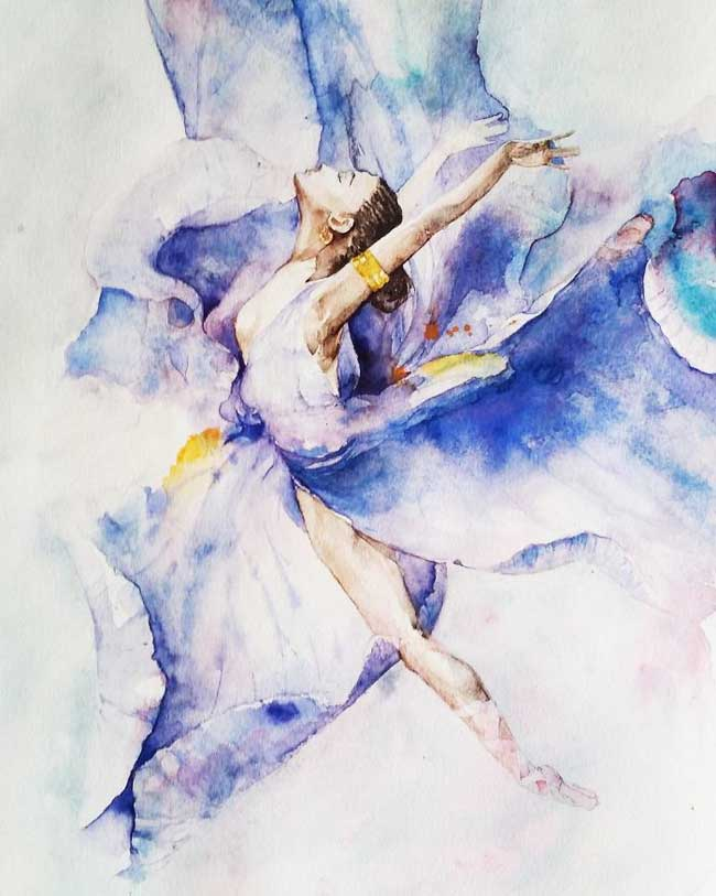 Image Aquarelle danseuses de ballet dans d'aériennes aquarelles - maxitendance