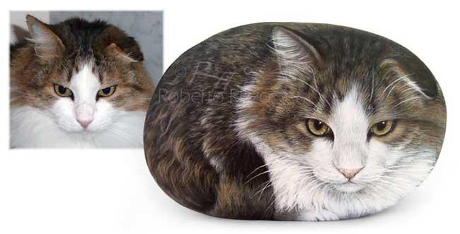 chat portrait peinture pierre roberto rizzo 2 - Ce Chat en Boule est une Réaliste Illustration sur Pierre (Video)
