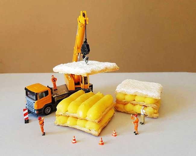 , Avec ses Desserts, Il Imagine de Fascinantes Scènes Miniatures