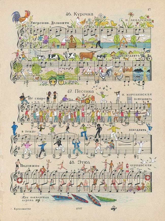 , Scènes de Vie Illustrées sur des Partitions de Musique