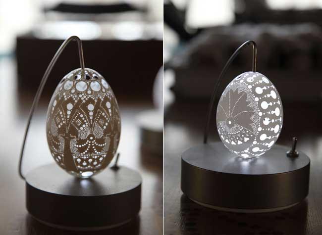sculpture oeuf, Franc Grom, l'Art Lumineux de Sculpter les Oeufs