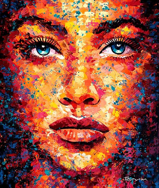 , Portraits Réalistes à l'Acrylique dans une Palette Eclaboussante