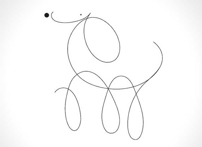 , Illustrations Minimalistes de Chiens Faits d'une Ligne et de 2 Points