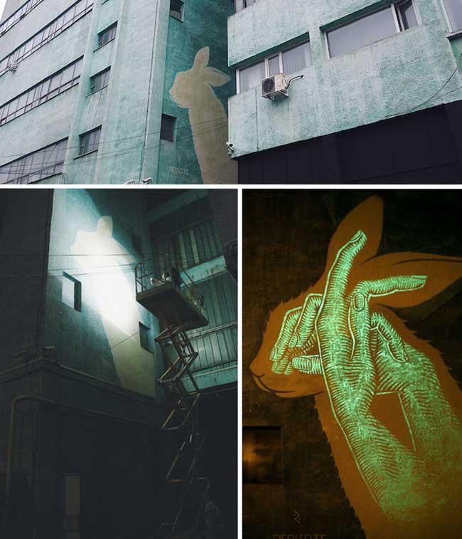 , Ces Fresques Murales Changent de Motifs la Nuit Tombée