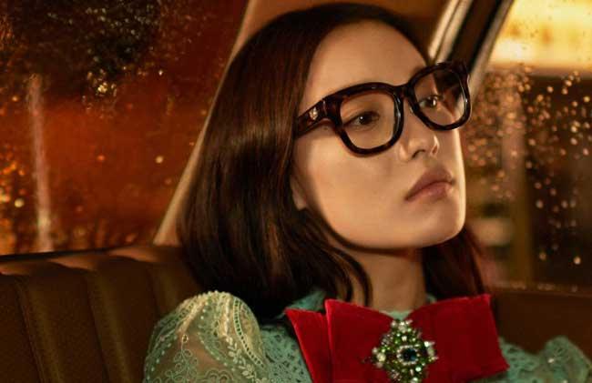 , Une Star Chinoise chez Gucci Lunettes de Soleil Ete 2017