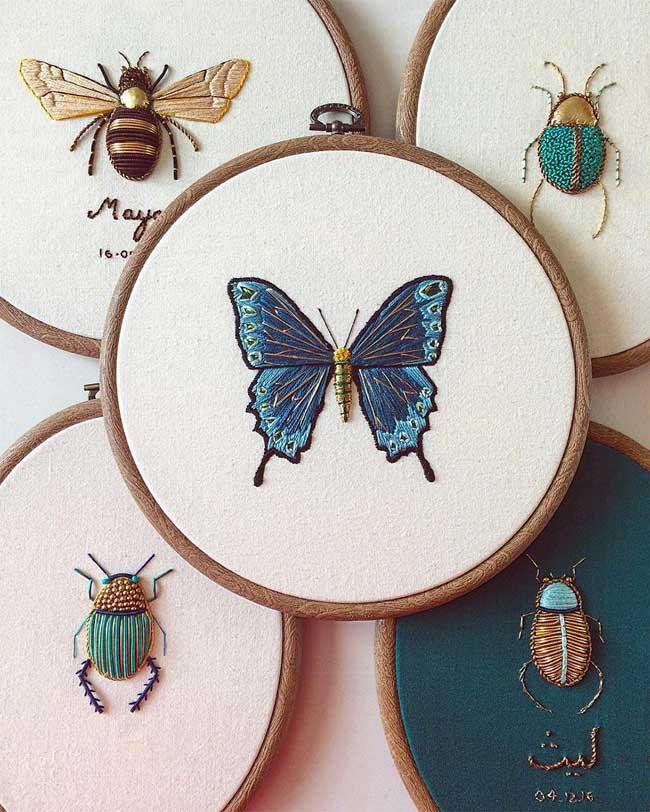 , Ces Insectes qu'elle Brode sont Incroyablement Détaillés
