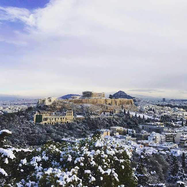, Exceptionnel, Athènes et son Acropole sous la Neige (video)