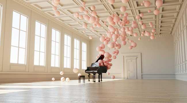 , Et si la Musique Etait aussi Légère que des Bulles Rose Pastel