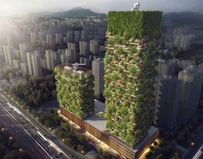 , Cette Tour est la 1ere Forêt Verticale en Asie avec 3000 Plantes et 1000 Arbres