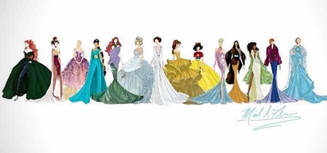 Glamour Disney Princesses Maxitendance Illustrations Robes En De FcJTKl1