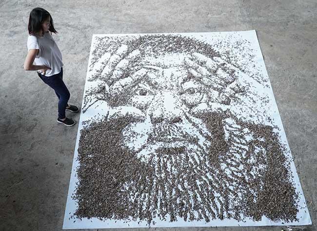 , 20000 Graines de Tournesol pour un Portrait d'Art Géant (video)