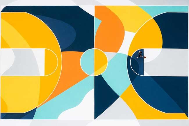 street art terrain basket italie artiste gue 3 - L'Artiste Gue Transforme un Terrain de Basket en Oeuvre d'Art