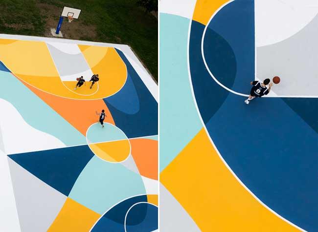street art terrain basket italie artiste gue 4 - L'Artiste Gue Transforme un Terrain de Basket en Oeuvre d'Art
