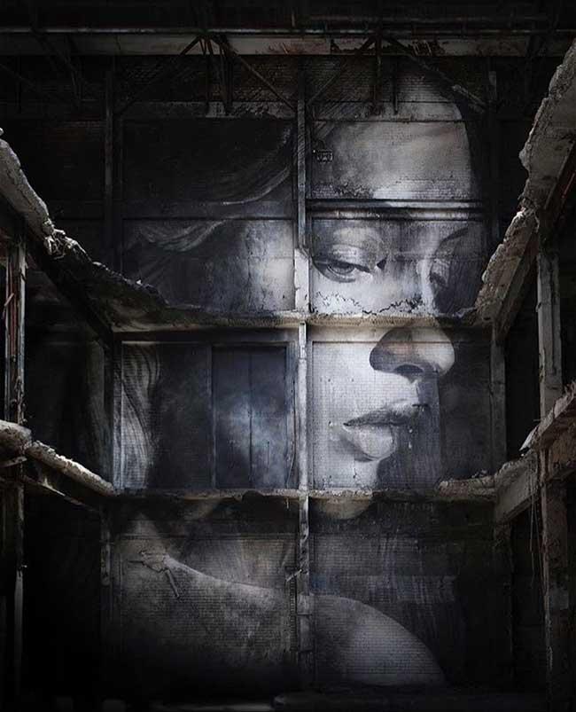 rone, Portraits Féminins en Fresques Urbaines dans des Entrepôts Abandonnés (video)