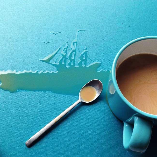 illustrations liquides, Illustrations Liquides et Ephemeres avec du Café, Lait, Miel et Eau
