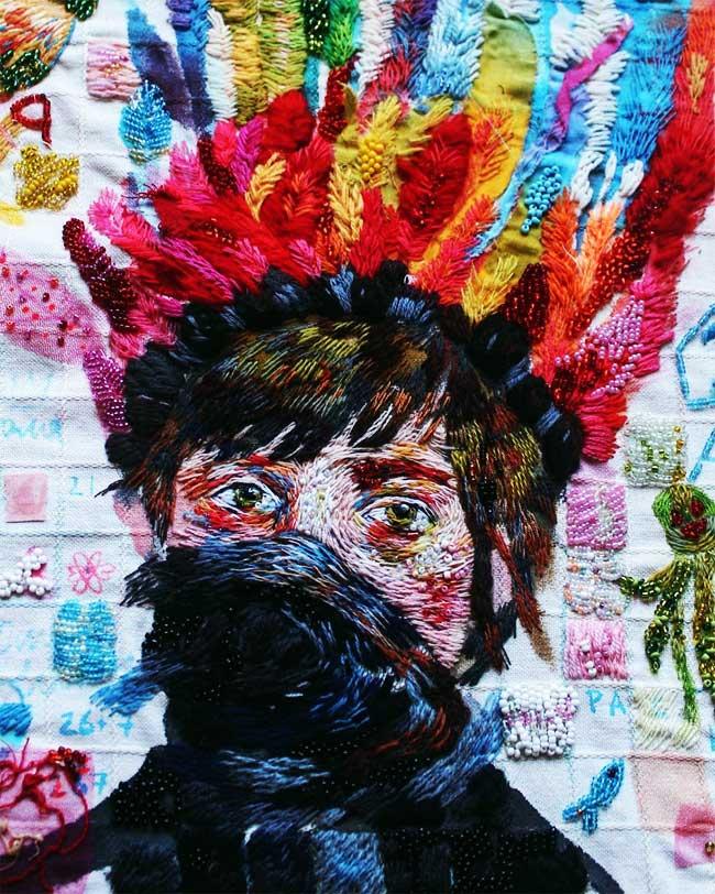 broderie lisa smirnova, Portraits Brodés à la Manière des Artistes Peintres