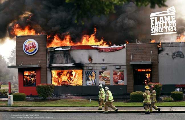 , Burger King fait la Pub de ses Restaurants en Feu