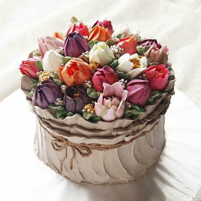 gateaux fleurs printemps, 13 Gateaux en Bouquet de Fleurs pour Célébrer le Printemps