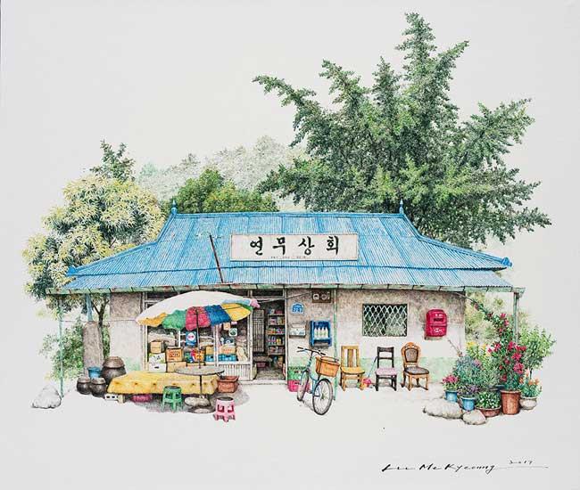 peintures commerces de proximite, Charmantes Peintures de Petits Commerces en Voie de Disparition