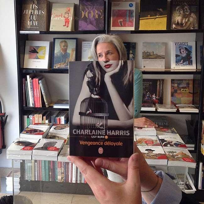 sleeveface couverture livres illusion optique portraits 2 - Quand les Employés d'une Librairie font du BookFace