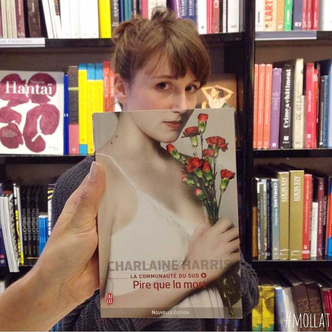 sleeveface couverture livres illusion optique portraits 9 - Quand les Employés d'une Librairie font du BookFace