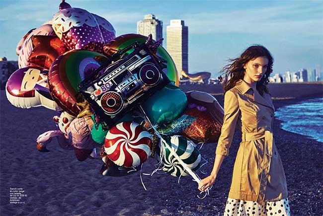 , La Fille aux Ballons de Glamour Espagne nous Invite à la Plage