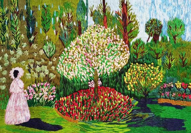 Meko Gelashvili broderies, Incroyables Reproductions Brodées de Toiles Impressionnistes