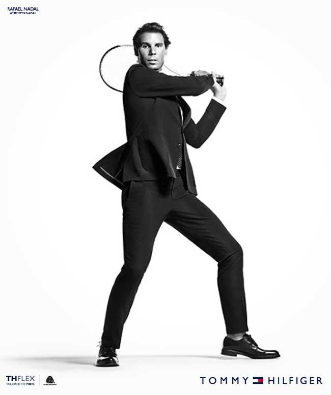 , Rafael Nadal Joue au Tennis en Costume Tommy Hilfiger (video)