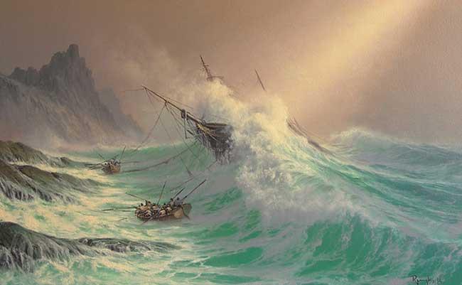 , Il Peint des Scenes Epiques de Voiliers Parcourant les Océans