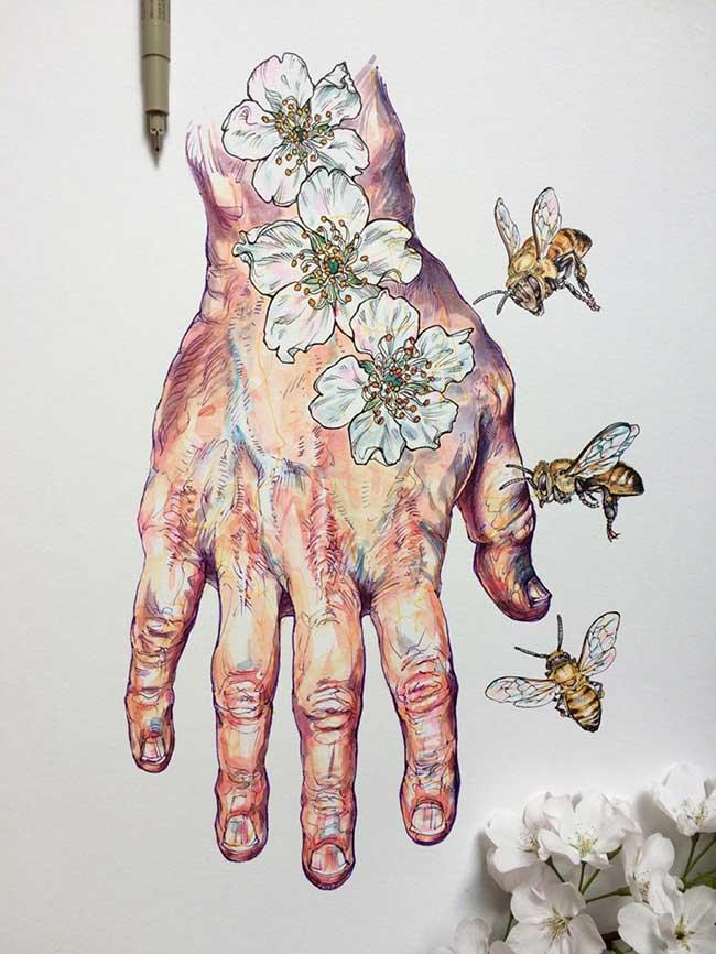 , Etude Illustrée de Mains Couvertes de Fleurs et d'Abeilles