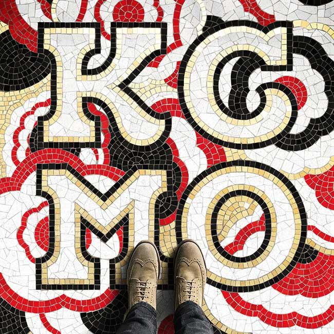 nick misani fauxsaics illustration typographie mosaique, Mosaïques Typographiques Imaginaires autour du Monde