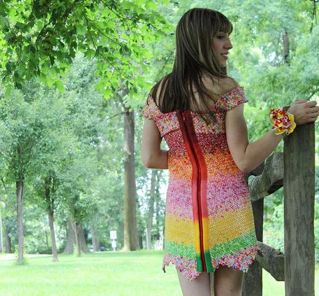 robe bonbons emballage recycle papier 5 - 10000 Emballages de Bonbons pour cette Elegante Robe